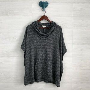 LOFT Lounge M/L Space Gray Cowl Neck Knit Poncho